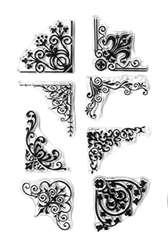 Border Stamp Rubber - Forever in Time Clear Cling Rubber Stamp Floral Swirl Border Corners Set