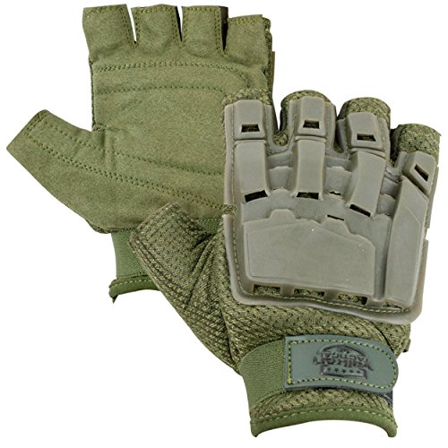 Valken V-TAC Half Finger Plastic Back Airsoft Gloves, Olive, Medium/Large (Gear Valken)