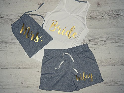 Bride Pajamas, Bride Pajama Set, Bridal Pajama, Honeymoon PJs, Bridal Pajama Set, Personalized Bridal Pajama Set, Personalized Bridal Pajama by CustomDivaTees