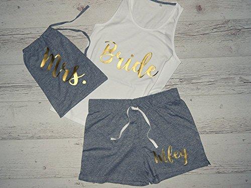 Bride Pajamas, Bride Pajama Set, Bridal Pajama, Honeymoon PJs, Bridal Pajama Set, Personalized Bridal Pajama Set, Personalized Bridal Pajama by CustomDivaTees