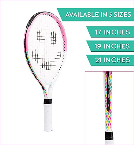 Street Tennis Club Tennis Rackets for Kids, 17-Inch, Pink/White