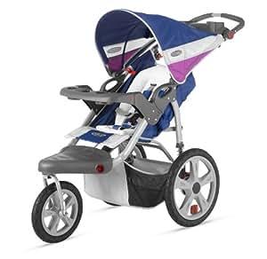 InStep Grand Safari Single Swivel Stroller, Blue/Grape
