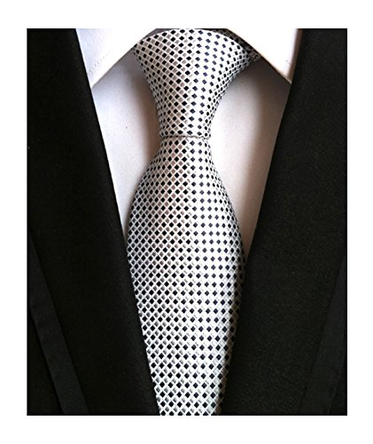- Men Classic Black Silver Jacquard Woven Silk Tie Geometric Micro Checks Neckties