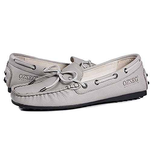 OZZEG Womens Flat Shoes Genuine Leather Soft Moccasins Loafer Shoes Grey 93fpvgzK7e