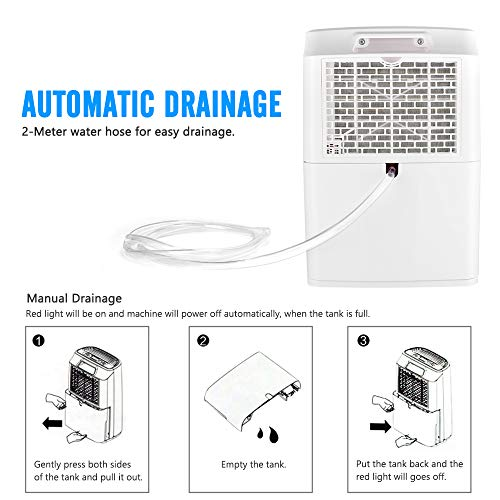 Ernovo 16L Dehumidifiers For Home, Portable Dehumidifier With Digital Control Panel, LED Display, 1.8L Water Tank, For Damp, Mould, Moisture In Home, Office, Kitchen, Bedroom, Garage, Basement