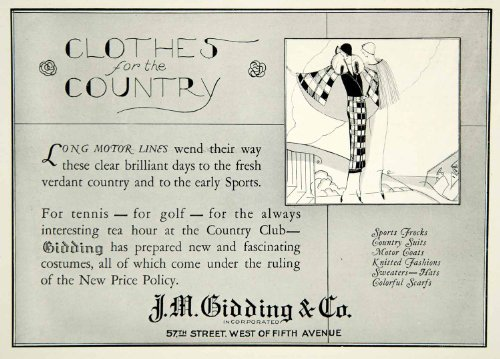 1924 Ad JM Gidding 57th St W Fifth Ave NY Art Deco Fashion Clothes Country Club - Original Print - And Ave 5th 57th