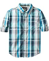 Calvin Klein Little Boys' CK Spectra Plaid Long Sleeve Rollup Shirt