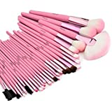 Glow 30 Pc Professional Wooden Handle Makeup Brushes Set in Pink Case