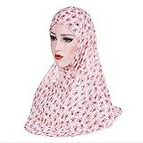 TraveT Women Chiffon Flower Hijab Muslim Headscarf Cap Islamic Full Cover Islamic Soft Maxi Scarf,Pink Flower