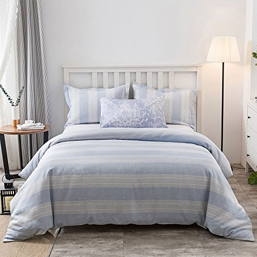 French Striped Fabric (Merryfeel Yarn Dyed Linen,Luxurious 100% Pure French Linen Duvet Set - King)