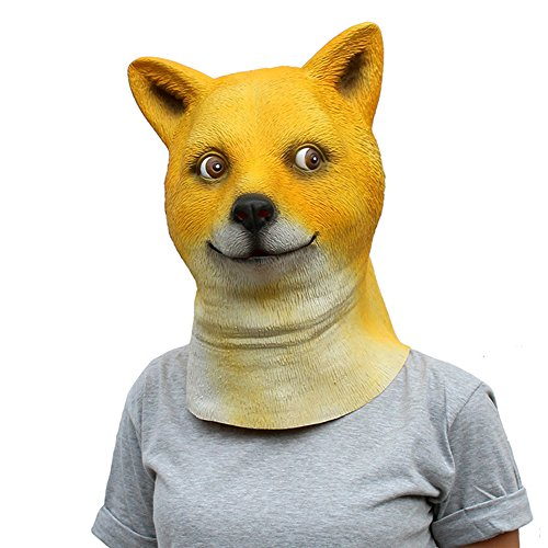 QTMY Latex Rubber Dog Mask for Halloween Party Costume Cosplay