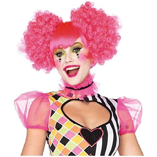 - Neon Pink Harlequin Wig Halloween Rave Clown Fancy Dress Costume Accessory