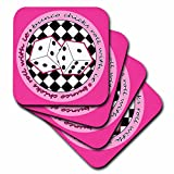 3d rose llc - 3dRose LLC Bunco Chicks Roll with It Pink Coaster, Soft, Set of 8
