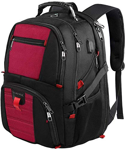 Extra Large Backpack,TSA Laptop Backpacks with USB Charging Port,Durable Travel Laptop Backpacks College School Bookbag Computer Bag for Men and Women Fits 17 Inch Laptops,Red (Best Backpacks For Traveling Abroad)