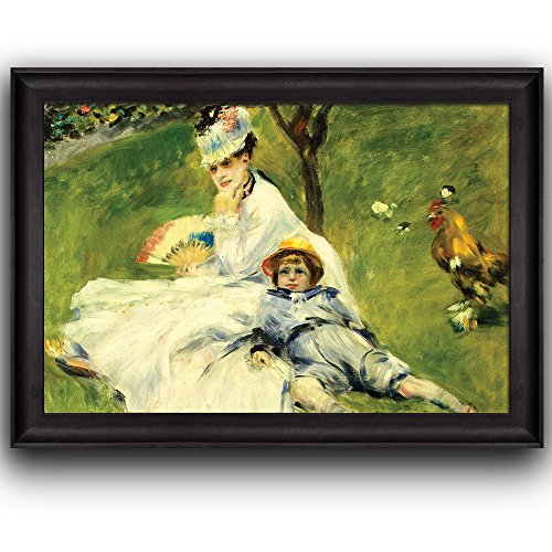 Madame Monetand her Son by Pierre Auguste Renoir by Claude Monet Framed Art