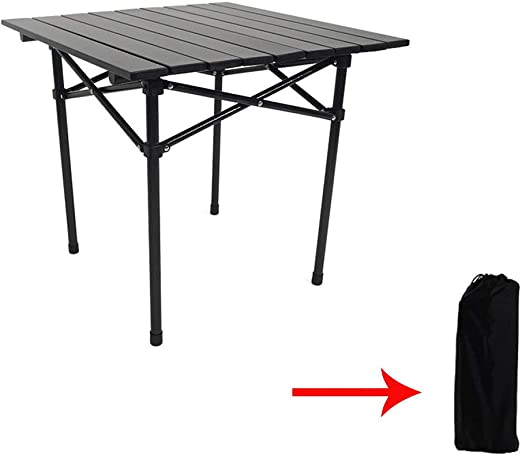 CONRAL Mesa Picnic Plegable Aluminio, Mesa para Acampar al Aire Libre, portátil y Liviana, Mesa Juego, Carga 50 kg, con Bolsa Transporte, tamaño Plegado Ultra Compacto: 21.6