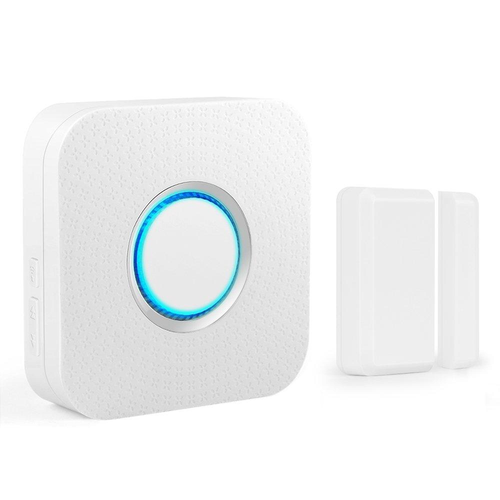 Wireless Door Sensor Alarm Chime, BITIWEND Home Security Window Entry Alert With Operating Range 600 feet/52 Chimes For Home/Garage/Shop (1 Door Sensor & 1 Receiver)