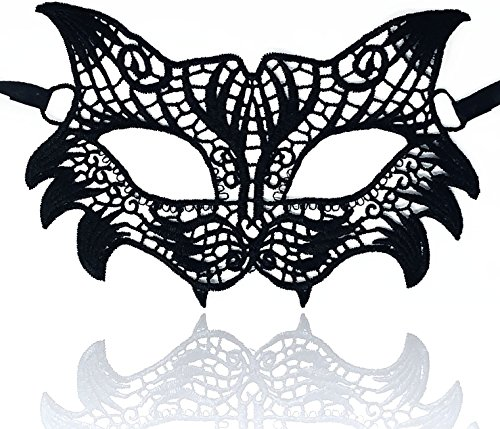 Masquerade Face Masks – Adjustable Strap, Comfy Fit, Sleek Lace, Majestic Patterns – for Halloween, Costumes, Joyous Celebrations, Mardi Gras, Weddings, Ball Proms, Venetian Décor (Night Owl)