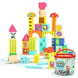 TOP BRIGHT Building Blocks Wood for Kids - Educational Learning Toys for Boys Girls - 38 Pieces Colored Animal Blocks Lacing Beads