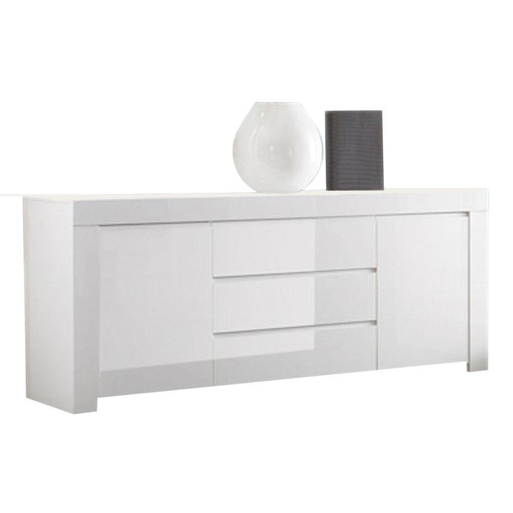 Sideboard mit 2 Türen & 3 Schüben aus Holz Weiß Hochglanz - Modell Ada