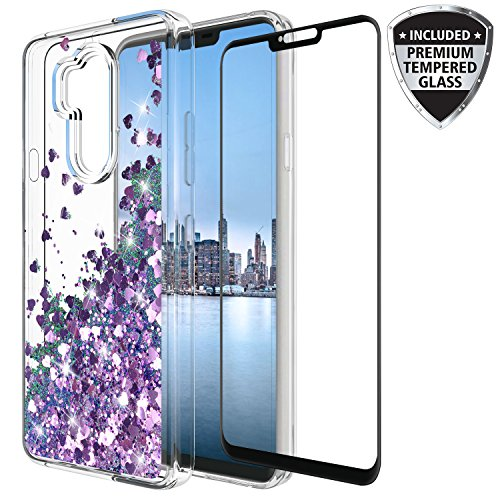 LG G7 Thinq Case With Tempered Glass Screen Protector, Rosebono Quicksand Glitter Sparkly Bling Cute Liquid Shiny Luxury Clear Soft TPU Bumper Protective Cover for LG G7 (Soft Liquid)