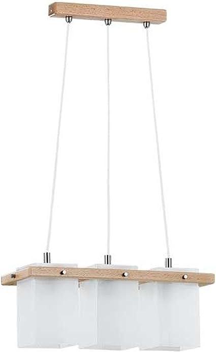 Bauhaus – Lámpara de techo de 3 luces colgantes Profundidad 90 cm Elementos Pantallas de Cristal Alabastro Madera cuadrados Ornamentales Tornillos Cocina lámpara de comedor – Lámpara de techo: Amazon.es: Iluminación