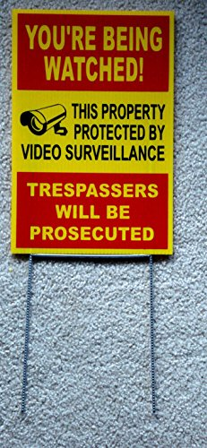 1Pc Profound Unique You're Being Watched Sign 24Hr Protection Video Monitored Declare Burglar Protect Poster House Trespassing Outdoor Neighbor Warning Under Cameras Protected Size 8'x12' w/ Stake