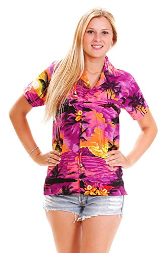 (Funky Hawaiian Blouse, Surf, purple, M)