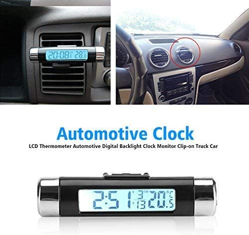 Car Temperature Clock 3 in 1 Multifunctional Digital Clock Thermometer Calender Dispaly with LCD Backlight Air Vent Clip Mounted Blue Backlight Battery Not Included