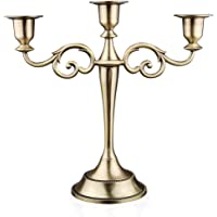 """Viscacha 3-Candle Metal Candelabra €"""" Candlesticks Holder for Formal Events, Wedding, Church, Holiday Décor, Halloween €"""" Taper Candle Holder Stand Centerpiece Elegant Decoration Piece for Table,Bronze"""