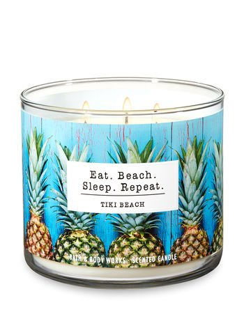 Bath & Body Works Tiki Beach 3-Wick Scented Glass Candle with Decorative Lid