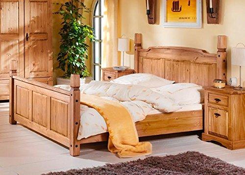 Doppelbett Mexican Henke Möbel Kiefer massiv 180x200 cm Braun Massivholz 180 x 200