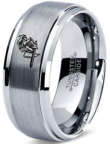 Zealot Jewelry Tungsten Armor Shield Sword Knight Band Ring 8mm Men Women Comfort Fit Gray Step Bevel Edge Brushed Polished Size -