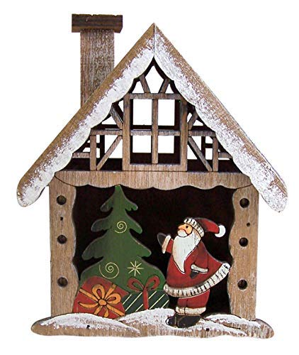 Santa Claus and Christmas Tree Design Village Bird House Decor, 6 1/2 Inch