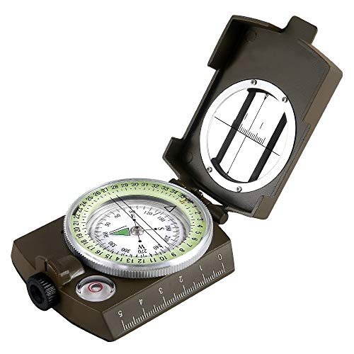 (Boat 101 Eyeskey Waterproof Survival Military Compass Hiking Camping Army Pocket Military Lensatic Compass Handheld Military Equipment (Camouflage))