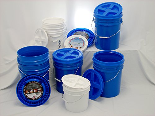 Bucket Kit, Five Blue 5 Gallon Buckets w/Blue Gamma Seals & Three White 2 Gallon Buckets w/ White Gamma Seals