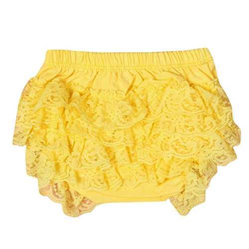 Toddler Baby Infant Girls Lace Ruffle Bloomer Nappy Underwear Panty Diaper Cover Briefs 0-18 Months (6-12 Months, Yellow) -