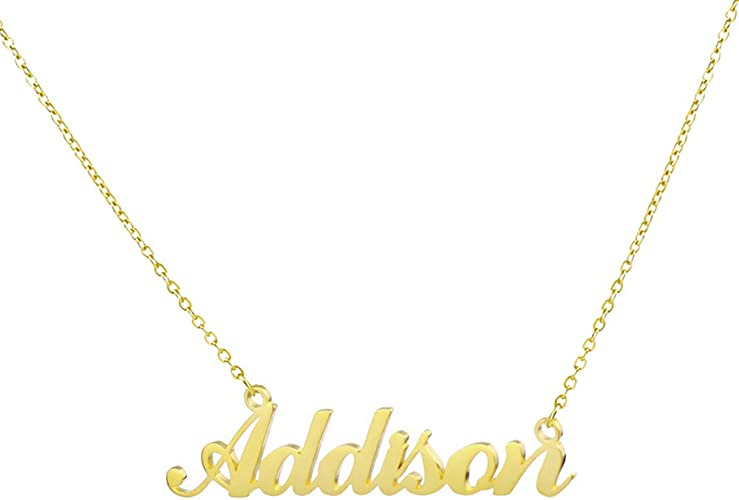 Gift Idea For Her CAITLIN Custom Made White Gold Plated Name Necklace