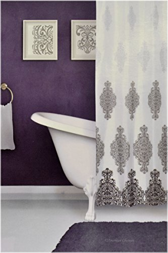 "White/Grey/Black Baroque Fabric 72"" Damask Shower Curtain with Metal Grommets"