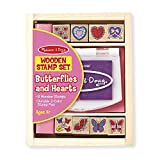 Melissa & Doug Butterly and Heart Wooden Stamp Set: 8 Stamps and 2-Color Stamp Pad