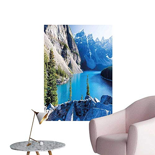 Nature 3D Murals Stickers Wall Decals Moraine Lake Banff National Park Canada Mountains Pines Valley of The Ten Peaks Kitchen Room Wall Blue Green Grey W32 x H48]()