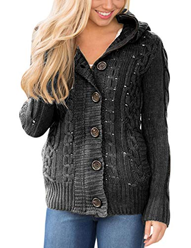 (Sidefeel Women Hooded Knit Cardigans Button Cable Sweater Coat Large Dark Grey)