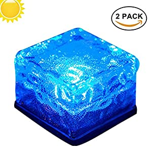 Solar Ice Rocks Light Garden Path Lights - Solar Powered Ice Cube LED Buried Light,Crystal Brick Glass Stone Night Lamp for Pathway Patio Pool Outdoor Decoration (Set of 2) (Blue)