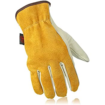 OZERO Working Gloves, Genuine Leather Garden Glove with Elastic Wrist for Women & Men - Good Grip & Flexible for Garden/Farm/Heavy Duty/Truck Driving/Warehouse - Lightcyan (1 Pair/X-Large)