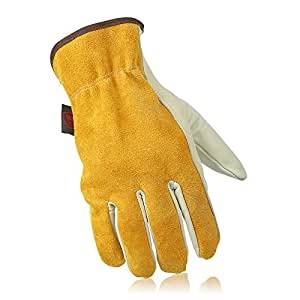 OZERO Working Gloves, Genuine Leather Garden Glove with Elastic Wrist for Women & Men - Good Grip & Flexible for Garden/Farm/Heavy Duty/Truck Driving/Warehouse - Lightcyan (1 Pair/X-Large)
