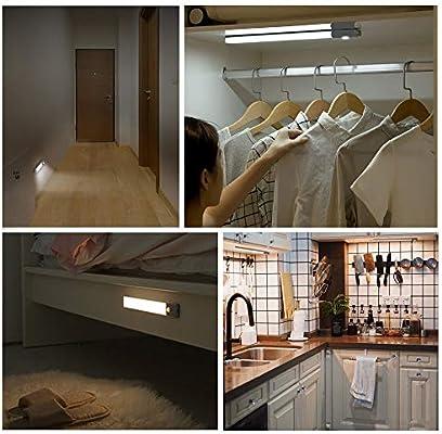 SOAIY 80LED Luz Armario Led Sensor Recargable 22CM 300LM 1500mAh, Luz Led Cocina con Sensor Movimiento 20s / 40s / 60s 4 Modos 3 Colores para Armario, Cocina, Pasillo, Escalera: Amazon.es: Iluminación