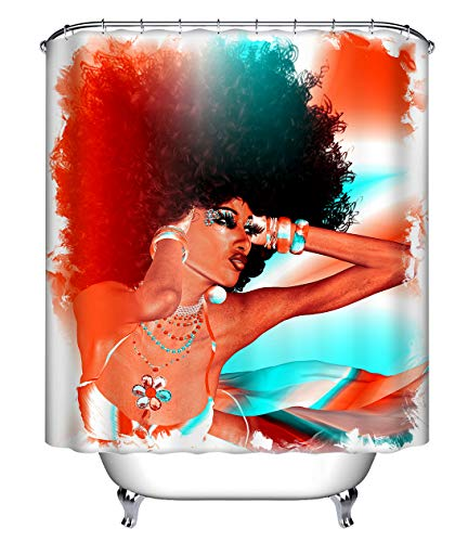 (LB Sexy African American Afro Woman Shower Curtain for Shower Stall, Black Art Chic Bathroom Curtain, 70 W x 78 L Extra Long Shower Curtain Set Waterproof)