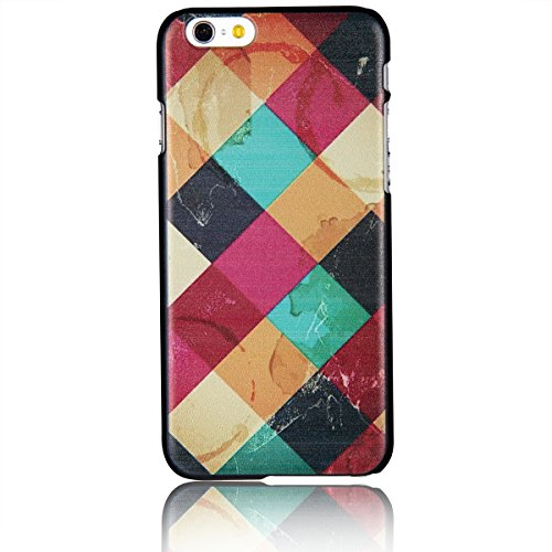 """JewelryWe Retro Farbige Große Kariert Harte Handy Case Schutzhülle Tasche Hülle Rückenschutzhülle für Apple iPhone 6 Plus(5,5""""), Mehrfarbig"""