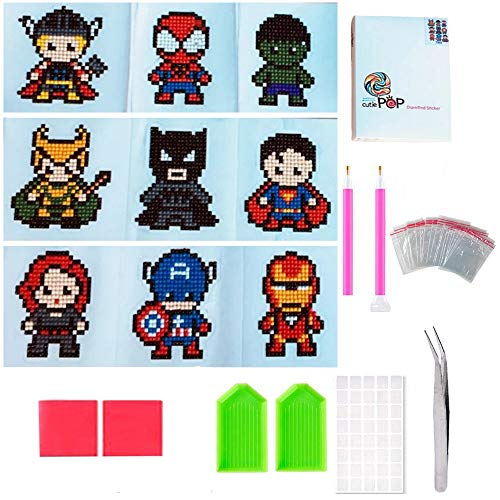 Geenber 5D Diamond Pianting Kits for Kids DIY Diamond Dotz Kits Drawing Tools Crystal Mosaic Sticker by Numbers Kits Arts and Crafts Set for Children - Superheroes