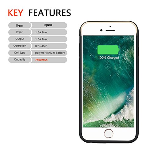 iPhone 8 Plus Battery instance Hathcack 7500mAh lightweight Battery Charger instance for iPhone 8 Plus 7 Plus 6 Plus 6s Plus Extended Battery Pack Protective Charging instance Lightning Cable suggestions Mode55 Inch Battery Charger Cases